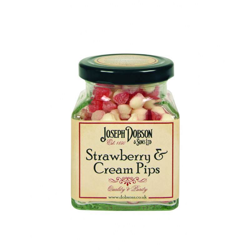 Strawberry & Cream Pips 180g Glass Jar