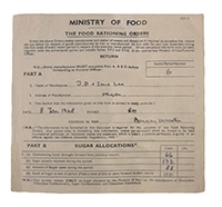 1942 Sugar Allocations Rationing orders